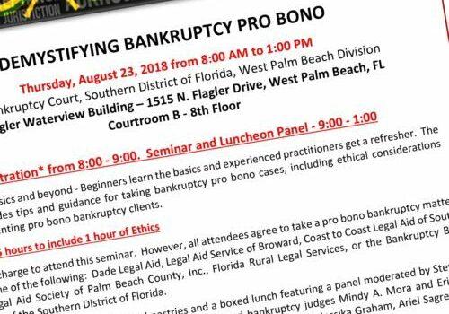 Ariel Sagre, Speaker at Bankruptcy Pro Bono Event, CLE